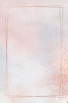 Rechteckkupferrahmen auf pastellhintergrund