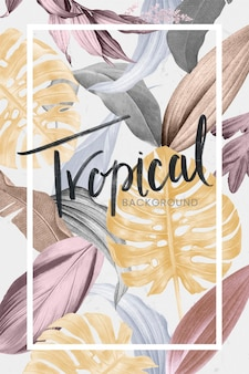 Rechteckrahmen auf einem tropischen hintergrundvektor