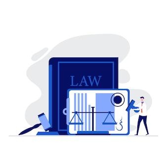 Rechts- und gerechtigkeitsillustrationskonzept mit personencharakter, der nahe der skala der gerechtigkeit steht, richterhammer und unterzeichneten rechtsvertrag.