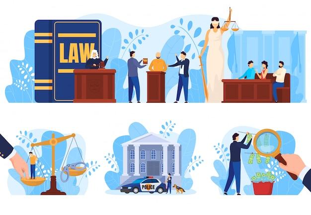 Rechts- und gerechtigkeitskonzept, personen vor gericht, reihe von abbildungen