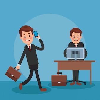 Rechtsanwälte, die im büro mit smartphone und computer arbeiten
