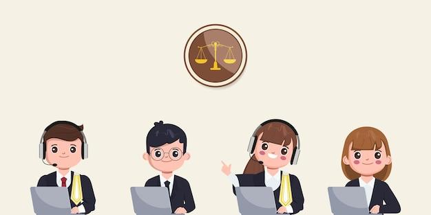 Rechtsanwälte online-zeichensatz thailändischer anwalt cartoon rechtsberatung online