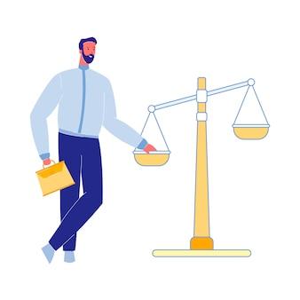 Rechtsanwalt mit gerechtigkeit scales vector illustration