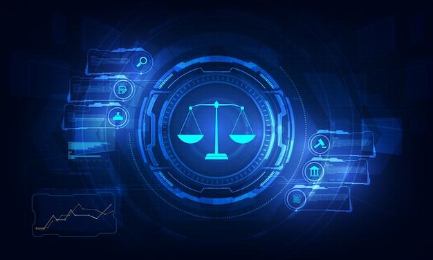 Rechtsberatungstechnologie-servicekonzept mit geschäft, das mit modernem ui-computer arbeitet.