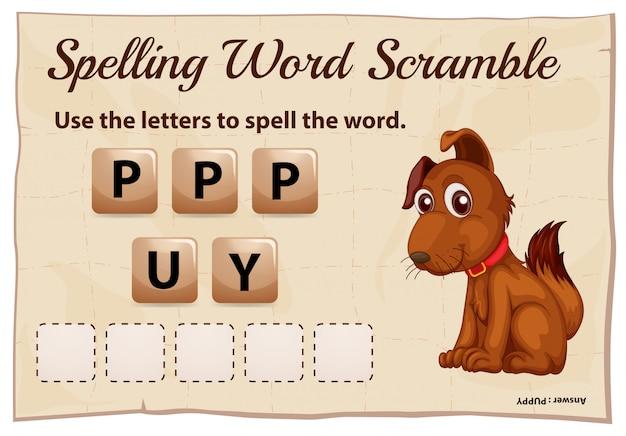 Rechtschreib-scramble-spielvorlage für welpen