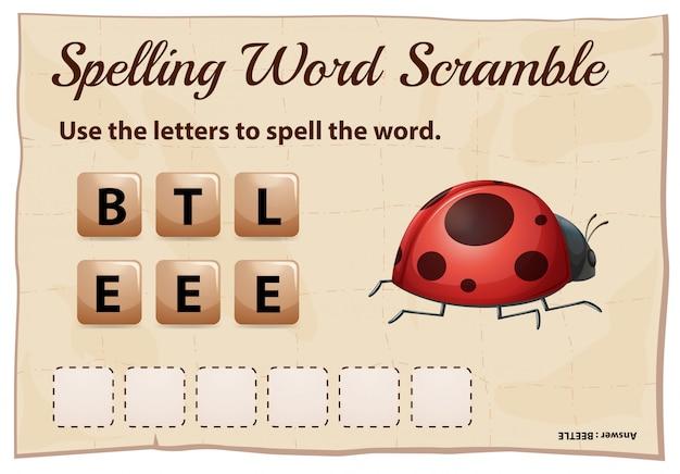 Rechtschreib-wort-scramble-spiel für wortkäfer