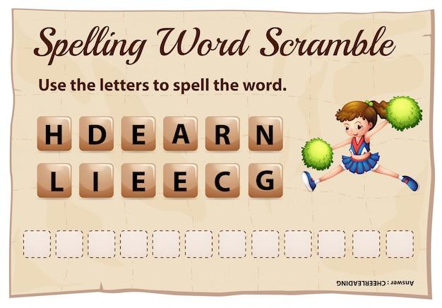 Rechtschreib-wort-scramble-spiel mit wort-cheerleading