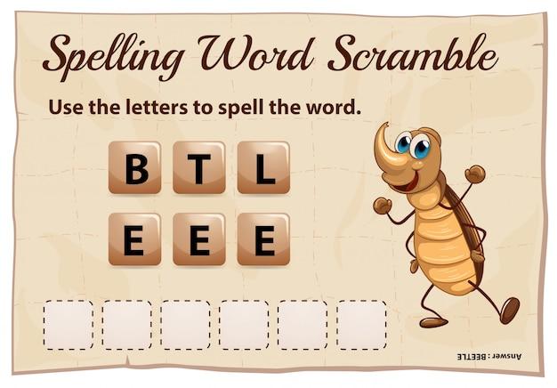 Rechtschreib-wort-scramble-spiel mit wortkäfer