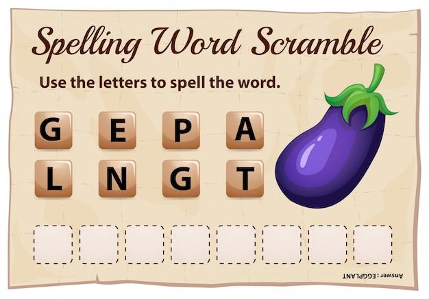 Rechtschreib-wort-scramble-spielvorlage mit wort-aubergine