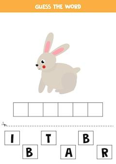 Rechtschreibspiel für kinder mit niedlichem kaninchen. arbeitsblatt für kinder lernen.