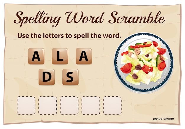 Rechtschreibwortspiel mit wortsalat