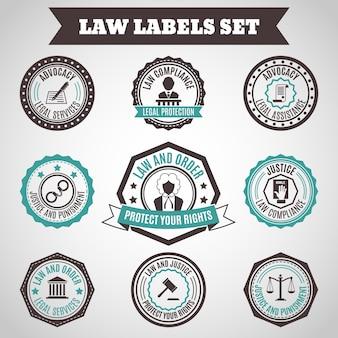 Rechtsschutz dienstleistungen schicht verbrechen und bestrafung etiketten gesetzt isoliert vektor-illustration
