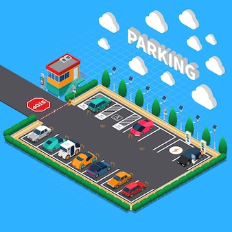 Rechtwinkliger parkplatz mit ökologischer aufladungsstallbegleiterstand-isometrischer zusammensetzung der elektrofahrzeuge