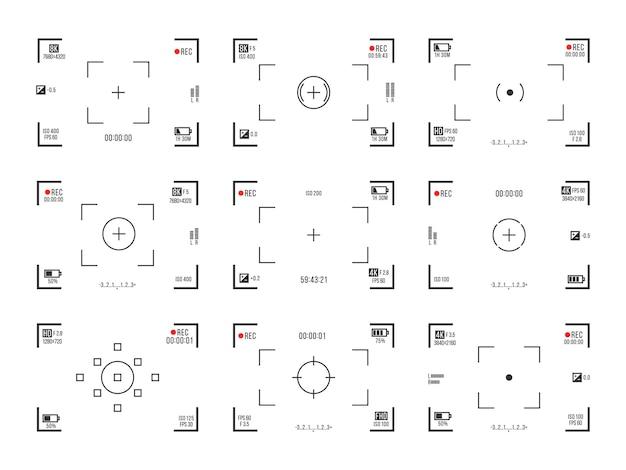 Recorder-cam-display-record-sucher-bildschirm für filmaufnahmevorschau-vektorset