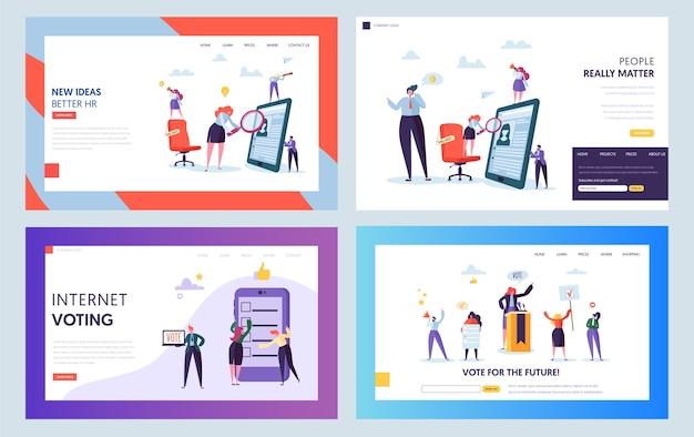 Recruitment job interview concept landing page. leeres zeichen auf stuhl. männlicher und weiblicher charakter auf der suche nach einer kandidaten-website oder einem webseiten-set. internet-abstimmung flache karikatur-vektor-illustration
