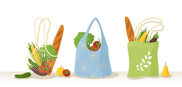 Recycelbare einkaufstaschen mit flachen illustrationen für bio-produkte