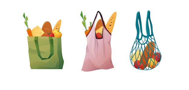 Recycelbare öko-einkaufstaschen und baumwollgewebe mit lebensmitteln. käufer aus papier, stoff. null-abfall-konzept.