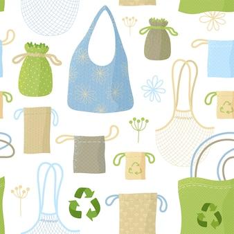 Recycelbare taschen und säcke, küchenartikel flach nahtloses muster. öko-packs, stoffsachen. wiederverwendbare verpackungen und accessoires kreative textilien, geschenkpapier, tapetendesign