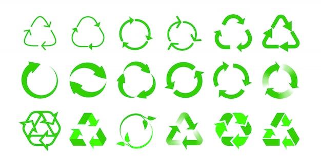 Recyceln sie die etikettenvorlagen für bio-wiederverwendungspakete. grüner öko-recyclingpfeil im grünen dreieck