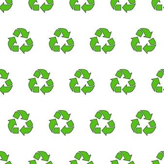 Recyceln sie dreieck nahtloses muster auf einem weißen hintergrund. öko-grün recyceltes thema-vektor-illustration