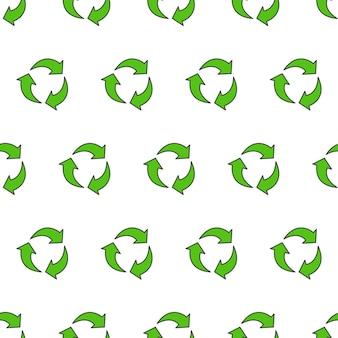 Recyceln sie dreieck nahtloses muster auf einem weißen hintergrund. öko-grüne recycelte symbol-vektor-illustration
