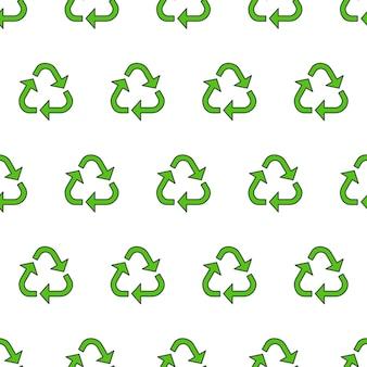 Recyceln sie dreieck nahtloses muster auf einem weißen hintergrund. öko-grüne recycelte vektor-illustration