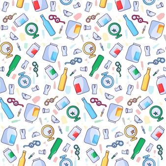 Recyceln sie glasabfallmuster mit nahtlosen zerbrochenen flaschen und anderem glasmüll. kein abfall, reduzierung der umweltverschmutzung und umweltkonzept. öko-schutz-vektor-illustration