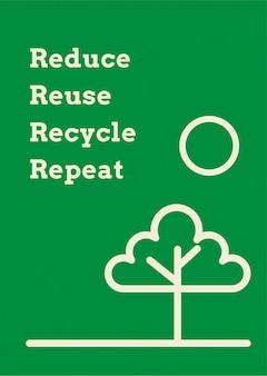 Recyceln sie plakatvorlagenvektor im erdton