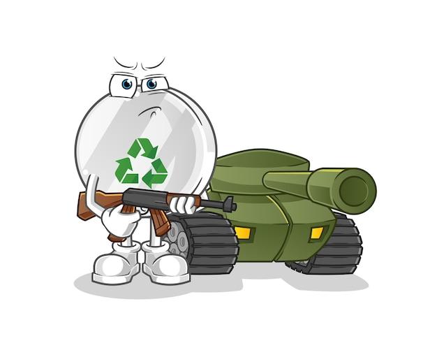 Recyceln sie zeichensoldaten mit panzercharakterillustration