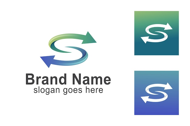 Recycelter buchstabe s mit pfeilsymbol für identitätsgeschäftslogoschablone