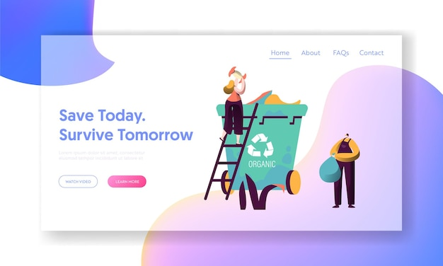 Recycle sort organic garbage landing page.