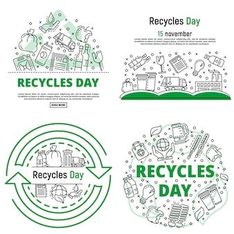 Recycles tag banner gesetzt. umreißsatz der recycling-tagesvektorfahne