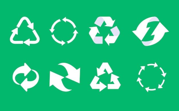 Recycling-icon-set. recyceltes öko-symbol. symbolsatz für recycelte zykluspfeile