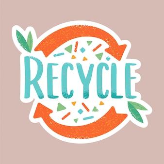 Recycling-inschrift in der hipster-cartoon-gekritzelartillustration. kompost, kein abfall, umweltfreundlich, rettet den planeten vor müll, wiederverwendeten fahrradkonzepten.