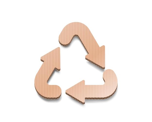 Recycling karton zeichen dreieckige schleife pfeile papier symbol weißer hintergrund vektor