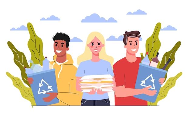 Recycling-konzept. ökologie und umweltpflege. idee der müllwiederverwendung. freiwillige, die papier- und plastikmüll aufheben und sortieren. müllabfuhr. illustration