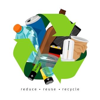Recycling-label mit müll und recycling-zeichen, auf weiß
