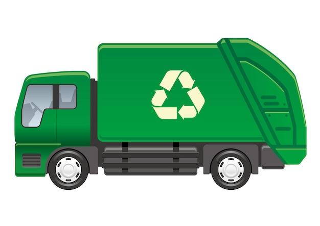 Recycling-lkw isoliert auf einer weißen hintergrundvektorillustration