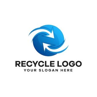 Recycling-logo-design mit farbverlauf