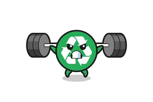 Recycling-maskottchen-cartoon mit einer langhantel, süßes design