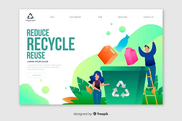 Recycling müll landing page vorlage