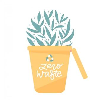Recycling-mülleimer für müllsortierplakat. dosen für verschiedene abfallarten wie kunststoff, glas und papier. umweltfreundliches konzeptdesign mit grünen blättern, die aus dem behälter wachsen. flacher vektor