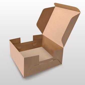 Recycling-papierbox mit offenem deckel auf weißem hintergrund für geschenkbox-produkte, premium-boxen, grüne boxen, lebensmittelboxen.