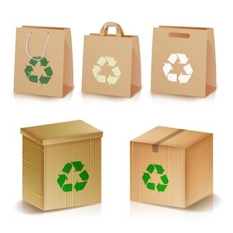 Recycling-papiertüten und kartons