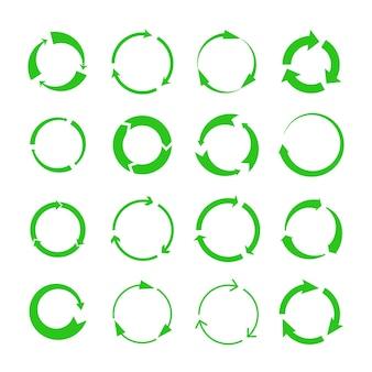 Recycling-pfeile. grüne kreise pfeilsymbole für biologischen abbau, recycling-symbole für den materialkreislauf isoliert