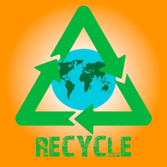Recycling-pfeile-vektor-symbol mit erdkugel im inneren
