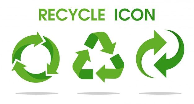 Recycling-pfeilsymbol bedeutet, dass recycelte ressourcen verwendet werden.