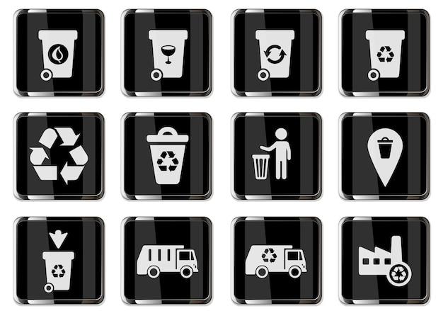 Recycling-piktogramme in schwarzen chromknöpfen. icon-set für das design der benutzeroberfläche