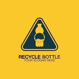 Recycling-plastikflaschen-logo-symbol-vektor-illustration-design. flasche mit recycling-symbol. flache symbol-vektorillustration des plastikrecyclingsymbols