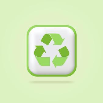 Recycling-symbol umweltsymbol ökologische blätter beschriftet grünes symbol reines bio-frischprodukt